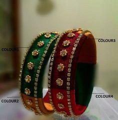 Multicolor Studded Silk Thread Bangle