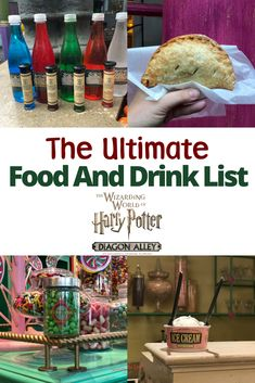 Headed to The Wizarding World of Harry Potter with the family? Here is the ultimate food and drink list for muggles visiting Universal Orlando Resort. The Wizarding World at Universal Orlando is known for butterbeer and chocolate frogs but what else is th Universal Orlando, Universal Studios Food, Harry Potter Universal, Harry Potter Hollywood, Universal Hollywood, Jurassic Park, Harry Potter Snacks, Drink Recipe Book, Orlando Travel