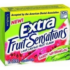 Accepted by the American Dental Association. Impulse display contains slim packs. Wrigley's Extra, Extra Gum, Gum Brands, Soft Candy, Sweet Watermelon, Snack Recipes, Snacks, Chewing Gum, Candy Buffet