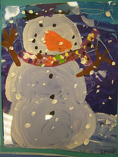 "Eric Carle ""Dream Snow"" snowman paintings - snow painted on a transparency - nice idea."