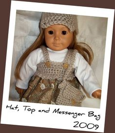PDF Crochet Pattern for Hat, Top and Messenger Bag for American Girl Type Dolls