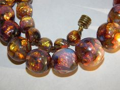 Art Deco Bohemian 1920s Foil Glass beads Necklace Opalescent colours ~ stunning~