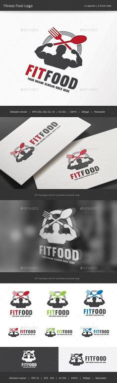 Fitness Food  Logo Design Template Vector #logotype Download it here: http://graphicriver.net/item/fitness-food-logo/12251238?s_rank=610?ref=nesto