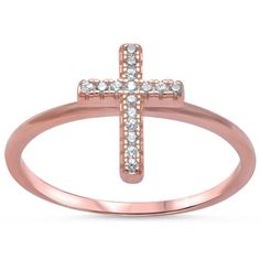 Petite Dainty New Design Rose Gold Sideways Cross Ring 925 Sterling Silver Round Russian Diamond White CZ Sideways Cross Ring Religious Ring