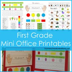 FREE first grade mini office printables - includes currency, shapes, phonics sounds, months of the year, days of the week, number words and more.