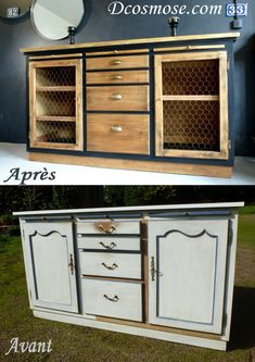 Here is a makeover of the extreme for this sideboard buffet in bistro style, perfect . Refurbished Furniture, Furniture Makeover, Painted Furniture, Diy Furniture, Cabinet Furniture, Muebles Living, Sideboard Buffet, Buffet Cabinet, Furniture Inspiration