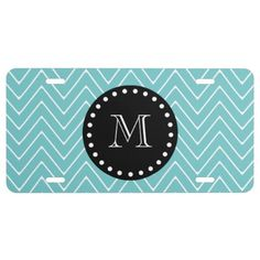 Teal Chevron Pattern | Black Monogram License Plate: Preppy, chic, trendy, teal blue and white modern chevron stripes, zigzag pattern, teal chevron pattern, you can personalize with a white monogram initial in a modern font, on a black circle label frame with a fun white polka dot circular border. GraphicsByMimi©.  #teal #chevron #monogram #licenseplate