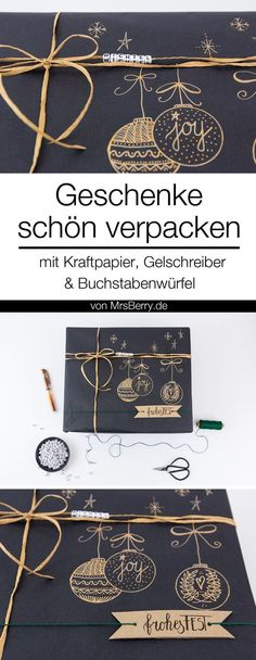 Beautifully pack gifts with kraft paper- Geschenke schön verpacken mit Kraftpapier Christmas Gifts Pack in Black, Nature and Bronze ♥ More ideas to wrap gifts nicely MrsBerry. Diy Gifts For Christmas, Christmas Present Boxes, Christmas Gift Wrapping, Wrapping Gifts, Black Christmas, Holiday Ornaments, Paper Gifts, Diy Paper, Diy Gifts For Boyfriend Just Because