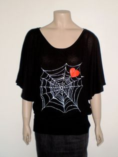 Spider web red heart maxi t shirt for women  black by librastyle, €15.00