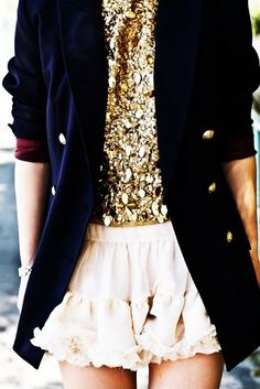 military inspired jacket-navy, gold--foiled top adds glamour-chic+frilly lace shorts balance it, make the look feminine Estilo Fashion, Look Fashion, Ideias Fashion, Fashion Beauty, Womens Fashion, Fashion Glamour, Fashion Models, Classy Fashion, Fashion Styles