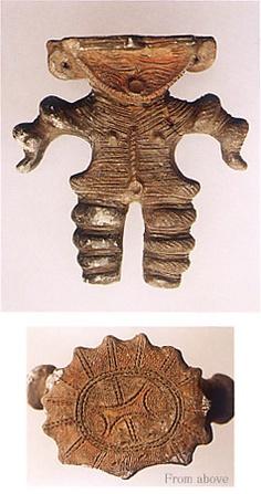 "Japanese ceramic figurine ""DOGU"".   BC.2,500 - BC.1,200.   This figurine was unearthed on Yoyama-kaiduka CHiba Japan. 千葉県よやま貝塚"