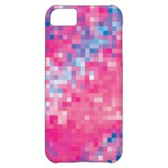Pink Blue & Purple Abstract Mosaic Squares Pattern Cover For iPhone 5C zazzle