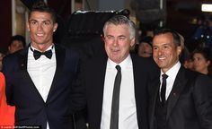 Ronaldo (left) stands alongside his former Real Madrid manager Carlo Ancelotti (centre) an...