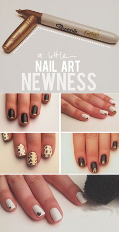 Sharpie nail art. Let dry Completely then cover with a top coat.