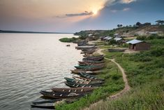 FCTFK3 Boats in the sunset, Kazinga Channel, Queen Elizabeth National Park, Uganda, East Africa