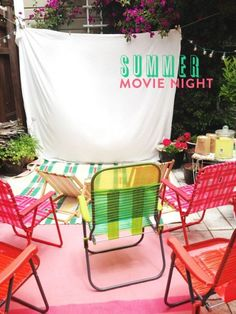 Be the cool mom this summer by planning an outdoor movie night in the backyard! Maybe feature a fun summer movie like Aquamarine or Free Willie! Summer Party Themes, Summer Parties, Summer Fun, Summer Nights, Party Ideas, Summer Bucket, Summer Picnic, Summer Ideas, Fun Ideas