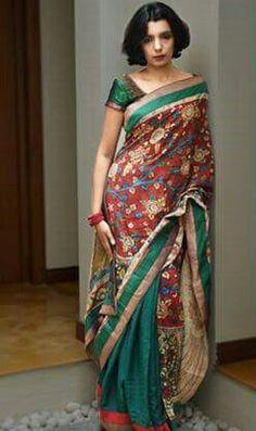 #Kalamkari#Saree Kalamkari Saree, Lehenga Saree, Saree Blouse, Indian Look, Indian Wear, Indian Clothes, Indian Outfits, Blouse Patterns, Blouse Designs