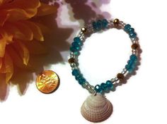 Blue and Gold Seashell Bracelet Beach jewelry summer by bowsngifts, $5.00