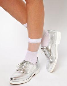 Sheer stripe socks / Metallic shoes