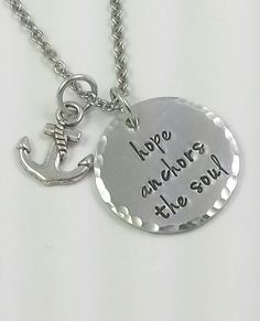 Hand Stamped Necklace  Hope anchors the soul by AmeliasExpressions