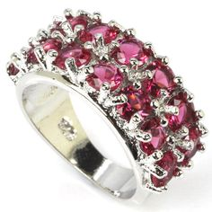 Pink Raspberry Rhodolite Garnet  S/Silver Ring Sz 9.25 Weimaraner Rescue   #Unbranded