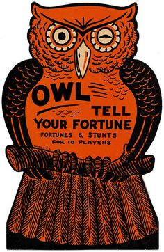 Owl Tell Your Fortune !    Vintage Halloween Party Game.
