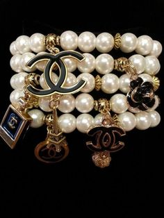 The sterling silver bracelets have actually been extremely popular among ladies. These bracelets are available in various shapes, sizes and designs. Chanel Bracelet, Chanel Jewelry, Bling Jewelry, Jewelry Accessories, Fashion Jewelry, Coco Chanel, Chanel Pearls, Matching Couple Bracelets, 4 Diamonds
