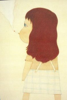 Postcard by Yoshitomo Nara - Pretty Art, Cute Art, Painting Inspiration, Art Inspo, Aya Takano, Yoshitomo Nara, Superflat, Funky Art, Japanese Artists