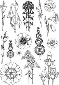 Chocolate Baroque Design Team: May 2013 Art Nouveau Illustration, Art Nouveau Poster, Botanical Illustration, Motif Art Deco, Art Deco Pattern, Art Deco Design, Doodle Drawings, Doodle Art, Baroque Design
