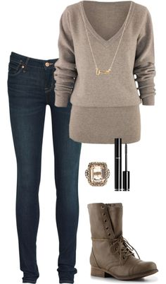 """""""Combat Casual"""" (by laurenngurd on Polyvore) almost didn't notice the pretty ring."""