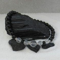Schwarzer Turmalin-facettierter Bergkristall Edelsteinperlen-Armband 925 Silber rhodiniert, gefertigt in Handarbeit Handmade Bracelets, Rhinestones, Crystals, Silver, Wristlets, Handarbeit