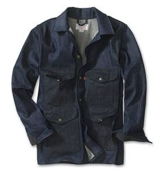 Filson Denim Cruiser Jacket    Denim works. It cuts the chill and whatever muck it collects washes right out. It's simple and tough.  Filson's Cruiser was designed back in 1914. Named for the timber cruisers of the time whose job it was to take long walks through the forest estimating the amount of standing timber for logging. Even if your cruising is of a slightly different type, this button front, 4-pocket work coat will serve you well on all your little jaunts.