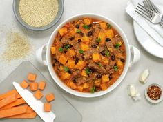 Bønnegryte med entrecôte - MatPrat Cooking Recipes, Healthy Recipes, Chana Masala, Baked Goods, Quinoa, Recipies, Curry, Paleo, Ethnic Recipes