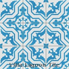 """Talia Azure"" Cement Tile, from Villa Lagoon Tile Powder Room $14/sf"