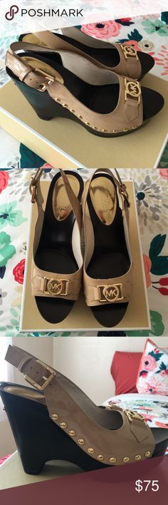"""Micheal Kors nude patent leather peep toe--shoe Style is Charm Sling. Nude patent leather with gold accents. Gold studs on the sides. Gorgeous pair of shoes. 3/4"""" platform with 4"""" heel Michael Kors Shoes Platforms"""
