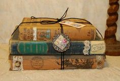 Tattered Antique Vintage Book Bundle Stack w/ Vintage Jewelry Button Lace Paris Apartment Chic Shabby Decor Photography by scottyscottage