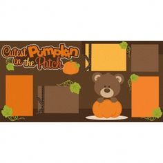 Silhouette Design Store: Cutest Pumpkin In The Patch 2 Page Scrapbook Kit Encouraging Scrapbooking Kits Photo Layouts Scrapbook Box, Paper Bag Scrapbook, Scrapbook Titles, Birthday Scrapbook, Scrapbook Supplies, Scrapbooking Layouts, Scrapbook Organization, Bridal Shower Scrapbook, Printables