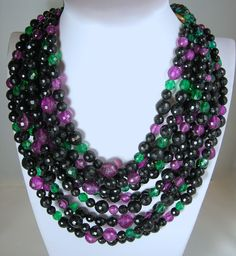 Vintage Coppola E Toppo Multi Colored 9 Strand Bib Necklace from Jewel Diva - $1500 - Purple, green black lucite faceted beads