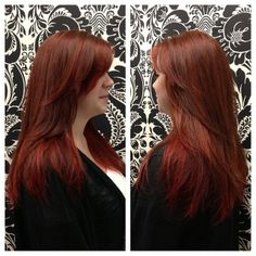 Andrea created a warm fall effect on Lindsey with natural copper red as a base color and red and peak-a-boo panels underneath. Copper Hair, Copper Red, Hair Inspo, Hair Inspiration, Hair Colour, Color, Holiday Hairstyles, Warm Autumn, Disney Bound