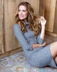 Anika - rib jurk in grey melee met col - dayz