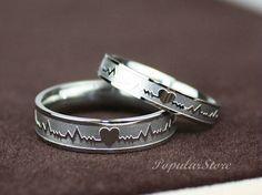 2pcs Titanium Electrocardiogram Promise Rings, Couple Rings, Wedding Bands, Lovers Rings, Engagement Rings, Wedding Rings