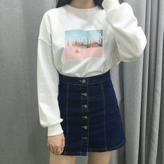 PAST PASSIONOH, OASIS Embroidery Detail With Front Print Sweatshirt   mixxmix   Shop Korean fashion casual style clothing, bag, shoes, acc and jewelry for all