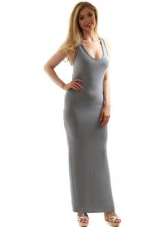 A Postcard From Brighton French Grey Nancy Racer Back Stretch Jersey Maxi Dress