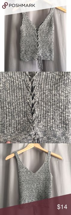 Lace up tank Sweater thick material. Lace up front. Cropped. Heather grey Tops Tank Tops