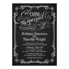 Custom Vintage Chalkboard Semi-Formal Wedding Invitations created by weddingtrendy. This invitation design is available on many paper types and is completely custom printed. Chalkboard Wedding Invitations, Black And White Wedding Invitations, Formal Wedding Invitations, Wedding Invitation Design, Wedding Stationery, Custom Invitations, Invites, Invitation Wording, Shower Invitations
