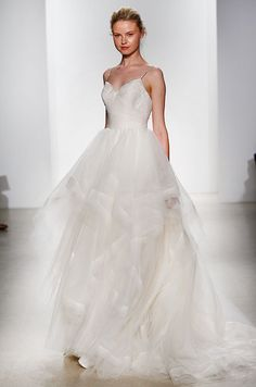 Silk organza and tulle layered bodice ball gown wedding dress with rhinestone straps and horsehair cascading skirt. Kelly Faetanini, Spring 2016