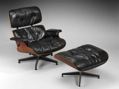 Designed by Charles Eames and Ray Eames, Lounge chair and ottoman, No. 670 and 671. Designed 1956, made 1956–62. Museum of Fine Arts, Boston.