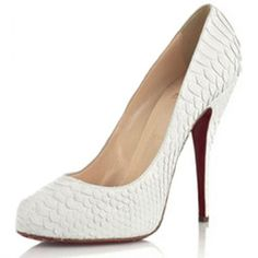 Christian Louboutin White Croco Highheel Pumps