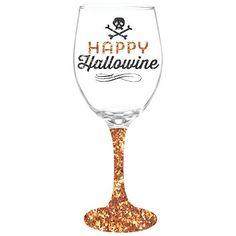 Happy Hallowine Wine Glass With Glitter Stem