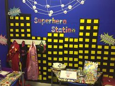 Superhero station role play area. #reception #superheroes #childrensinterests Superhero Writing, Superhero Ideas, Superhero Theme Party, Early Years Topics, Role Play Areas Eyfs, Traction Man, Superhero Classroom Decorations, Kids Indoor Play, Dramatic Play Area
